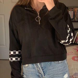 Black checkered cropped quarter zip.